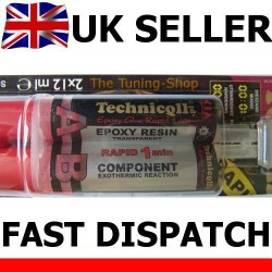 1 x CLEAR EPOXY ADHESIVE GLUE FOR METALS GLASS CERAMIC PORCELAIN PLASTIC 2 x 12ml FAST RAPID DRY NEW