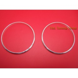 BMW E30 84-91 CHROME HEATER SURROUNDS DASH TRIM RINGS SET OF 2 NEW