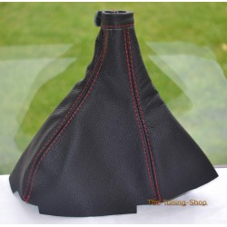 LANCIA DELTA 1986-1994  GEAR GAITER BLACK LEATHER RED STITCHING