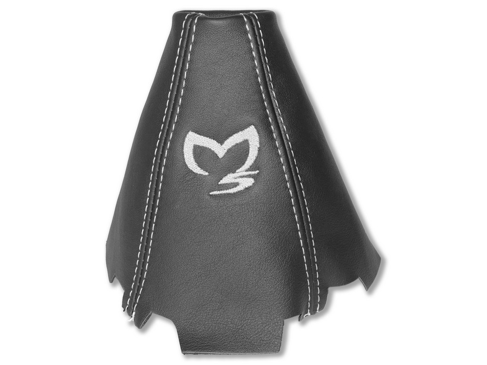 Gear Stick Gaiter Black Leather White Embroidery