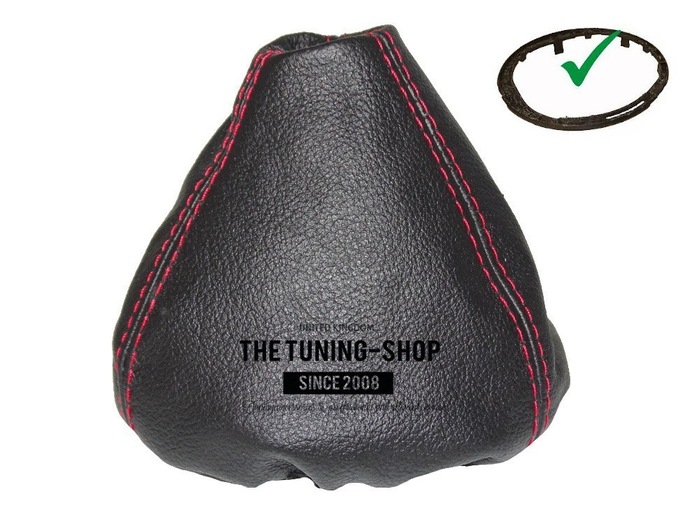 For Mini R55 R56 R57 2007-2013 Shift Boot Black Genuine Leather Red Stitching