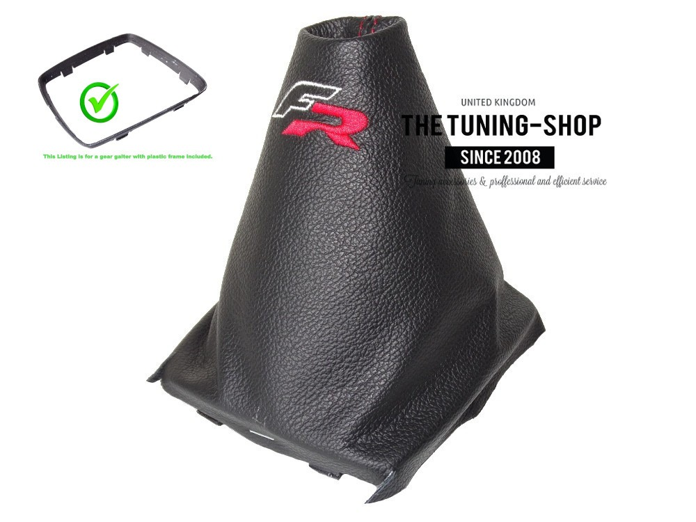 For Seat Leon MK2 2005-12 Gear Stick Gaiter Black Leather R-line Embroidery