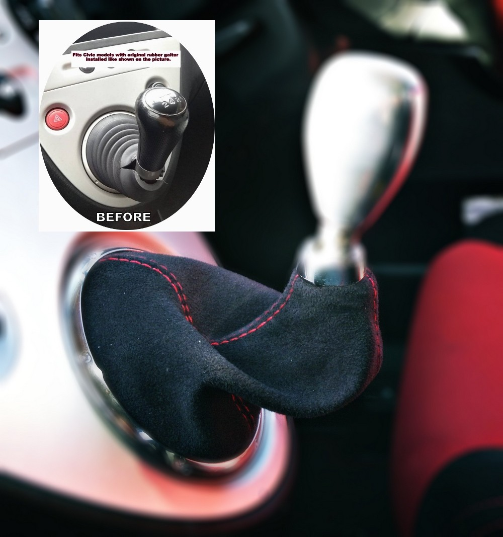 The Tuning-Shop Ltd For Honda CR-Z 2010-15 Manual Shift Boot Black Leather With Red Stitching