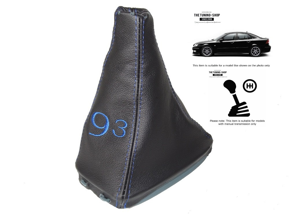 Gear Gaiter Shift Boot Manual Black Leather Blue ST Embroidery